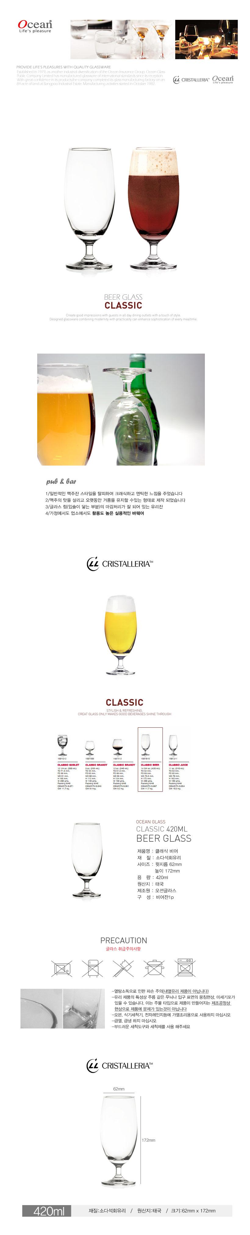 오션글라스 클래식 비어 맥주잔 420ml 1P - 재미있는생활, 4,500원, 유리컵/술잔, 유리컵